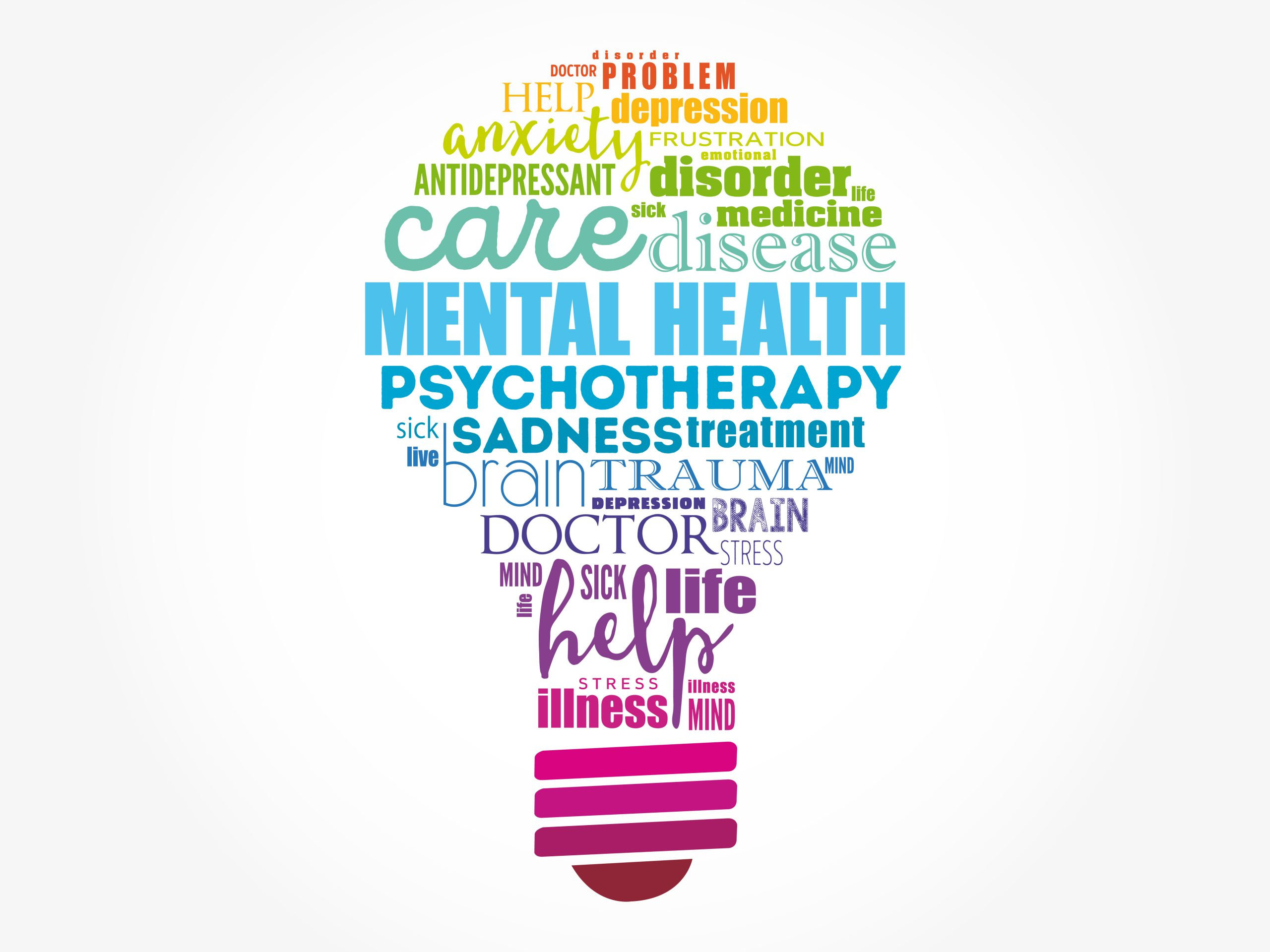 Mental Health Bulb Word Cloud, Health Concept Background